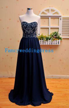 Eine Linie, die Navy Blue Sweetheart schulterfreies Chiffon Stock Länge lange Prom Kleid lange Abendkleider lange Party Kleider lange formal...