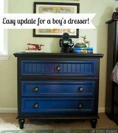 Boy's Dresser Update - Up to Date Interiors Use left over paint to give a facelift on a piece of furniture