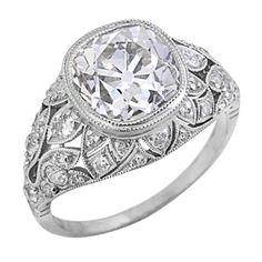 Extraordinary Art Deco Platinum & Diamond Ring, circa 1925. Center diamond weighs 3.40 carats.