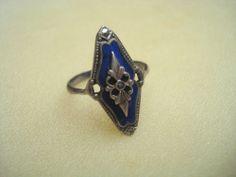 Damen Ring Marquisenring Silber 830 mit Email blau + Markasit Jugendstil Art