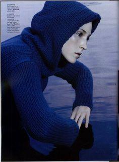 #blue knit hoodie