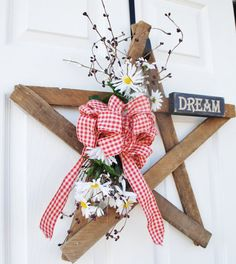 Your place to buy and sell all things handmade Country Wreaths, Country Decor, Country Style, Snow Fence, Primitive Wreath, Christmas Stockings, Christmas Ornaments, Wooden Stars, Patriotic Wreath
