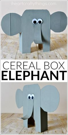 DIY tutorial for how to turn a cereal box into an awesome cereal box elephant… Arts And Crafts For Adults, Arts And Crafts House, Easy Arts And Crafts, Arts And Crafts Projects, Animal Crafts For Kids, Summer Crafts For Kids, Toddler Crafts, Summer Kids, Zoo Crafts