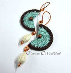 NUNA Ethnic Tribal Native American Crochet Earrings Copper Brown Chocolate Cream Mint Moon Half moon