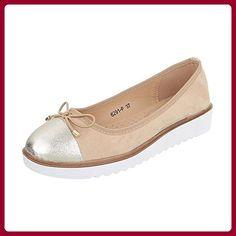 Smilun Damen Schuhe Ballerina Flats Ballerina Flach Ballett Ballerina Flats Metall Spitze Rot EU39 Niv6g