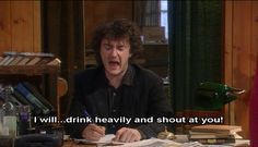 ImageFind images and videos about funny, black books and dylan moran on We Heart It - the app to get lost in what you love. English Comedy, British Comedy, British Sitcoms, British Humor, Black Books Quotes, Book Quotes, Dylan Moran, Wine Jokes, British Invasion