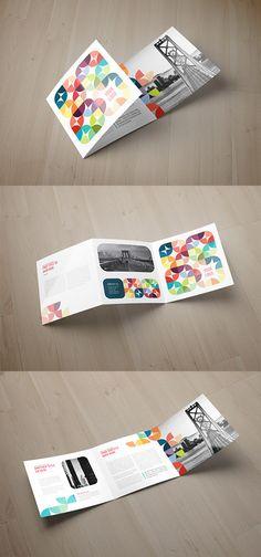 geometric tri-fold brochure design  graphic design. visual communication. publications. publication design. brochures. grid. layout. typography.