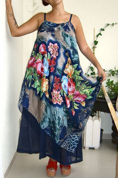 I sewed scarf dresses for my d Pool Fashion, Diy Fashion, Fashion Outfits, Scarf Dress, Fashion Project, Fashion Fabric, Knee Length Dresses, Sewing Clothes, Scarf Styles