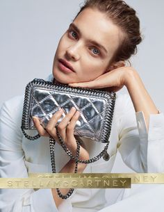 Natalia Vodianova featured in our #SS15 Campaign, carrying our new silver quilted #Falabella bag