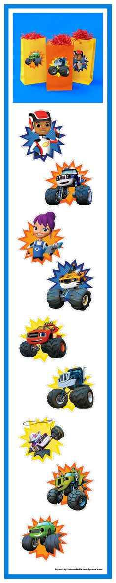 Blaze and Monster Machines Party Goody Bag Stickers Blaze und Monster Machines Party Goody Bag Aufkleber Blaze And The Monster Machines Party, Blaze The Monster Machine, 3rd Birthday Parties, Birthday Fun, Birthday Party Invitations, Monster Truck Birthday, Monster Trucks, Monster Party, Bolo Blaze
