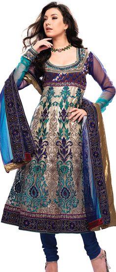Light Beige Net #Anarkali Churidar #Kameez With #Dupatta @ $128.84 | Shop @ http://www.utsavfashion.com/store/sarees-large.aspx?icode=ksa9a