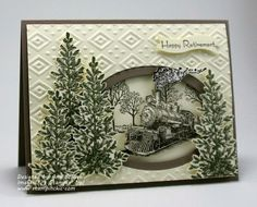 Masculine Card using an embossing folder design with window die cut opening and stamped/cut 3D images.