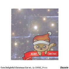 Cute Delightful Christmas Cat with Stars Notepad #Onmeprints #Zazzle #Zazzlemade #Zazzlestore #Zazzleshop #Zazzlestyle #Cute #Delightful #Christmas #Cat #Stars #Notepad Christmas Cats, Christmas Time, Merry Christmas, Cat Santa Hat, Cute Gifts For Girls, Happy Holidays Greetings, Brown Cat, Xmas Stockings, Custom Notebooks
