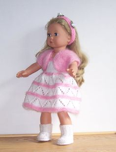American Girl PDF knitting pattern for 18 doll also