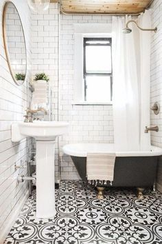Subway tile and painted clawfoot tub in bathroom. Subway tile and painted clawfoot tub in bathroom. Subway tile and painted clawfoot tub in bathroom. Bathroom Renos, Master Bathroom, Shiplap Bathroom, Basement Bathroom, Bathroom Tiling, Office Bathroom, Bathroom Fixtures, Patterned Tile Bathroom Floor, Houzz Bathroom