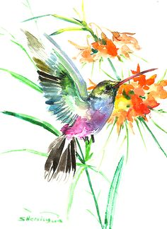 Hummingbird with Orange and Yellow Flowers Art / Watercolor Tattoo Idea