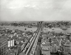 """New York circa 1903. """"East River and Brooklyn Bridge from Manhattan."""" Among the many signs competing for our attention are billboards for """"Crani-Tonic Hair Food"""" and Moxie. 8x10 glass negative"""