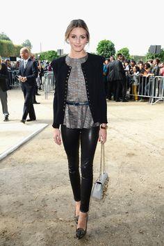 Olivia Palermo makes leather leggings look lady-like