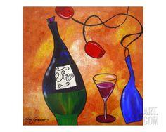 Vino & Roses Giclee Print by Gino Savarino at Art.com