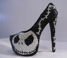 2014 Crystal Jack Skellington Nightmare Before Christmas Shoes - Black Platform Heels, Pumps for 2014 Halloween Party High Heels Boots, Shoe Boots, Shoes Heels, Jack Skellington, Nightmare Before Christmas, Halloween Heels, Happy Halloween, Halloween Prop, Halloween Witches