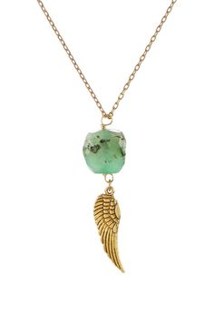 Chrysophase & Wing Pendant Necklace
