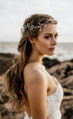 Bridal Jewelry - Belle The Magazine - Bridal Headpiece, Wedding Hair Accessory - Wedding Headband, Diy Wedding Hair, Bridal Hair Vine, Wedding Hair Pieces, Wedding Ideas, Rhinestone Headband, Dream Wedding, Wedding Dresses, Boho Hairstyles For Long Hair