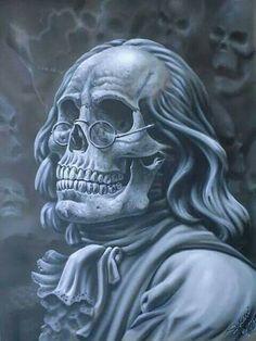 Benjamin Franklin Skull portrait,  airbrushed fineart by Kiwi Terry.