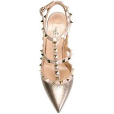 Valentino Garavani 'Rockstud' pumps (13.924.625 IDR) ❤ liked on Polyvore featuring shoes, pumps, valentino, leather pointed toe pumps, ankle strap shoes, pointed toe pumps, ankle strap stilettos and t strap shoes