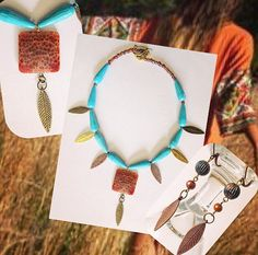 Turquoise Boho Folk Ethnic Jewelry Set, Necklace & Earrings  Two Piece Set, Handmade Gift, For Her, Fashion Accessories, Folk Fashion by Creationlily on Etsy https://www.etsy.com/listing/218464342/turquoise-boho-folk-ethnic-jewelry-set