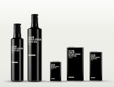 Olea *The Good Stuff on Packaging of the World by Gallén + Ibáñez - Creative Package Design Gallery Medical Packaging, Skincare Packaging, Beauty Packaging, Cosmetic Packaging, Olive Oil Packaging, Black Packaging, Bottle Packaging, Armani Cosmetics, Extra Virgin Oil