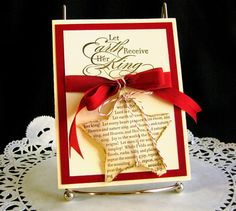 Christmas Card Handmade Joy to the World on Shabby Chic Star