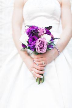 Lovely purple bouquet for a royally elegant wedding: http://onthegobride.com/2015/06/elegant-affair    http://www.aprilmaura.com/