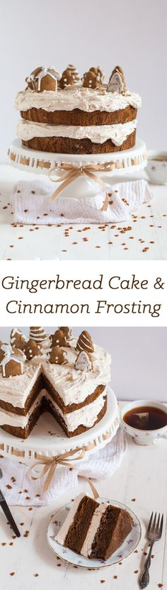 Gingerbread Cake with Cinnamon Buttercream ! A rich, moist gingerbread cake with cinnamon buttercream, plus a recipe for a small batch of gingerbread cookies! So Perfect for Christmas :) Holiday Baking, Christmas Desserts, Christmas Treats, Christmas Cakes, Thanksgiving Deserts, Just Desserts, Delicious Desserts, Dessert Recipes, Keto Desserts