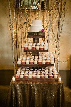 Rustic wedding cake + cupcake tower
