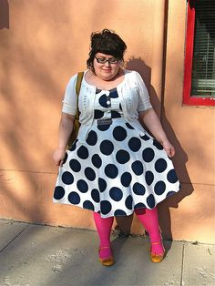 pining for the moon - pink tights, yellow shoes, polka dots!!