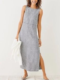 Striped sleeveless dress - Women Plus Size Dresses Summer Shift Daytime Holiday Maxi Dresses – Striped sleeveless dress Gray Dress, Striped Dress, Striped Linen, Side Split Dress, Maxi Dress With Sleeves, Sleeve Dresses, Shirt Dress, Dress Tops, Cotton Dresses