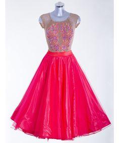 377666 Tan and Scarlet Ballroom Dress