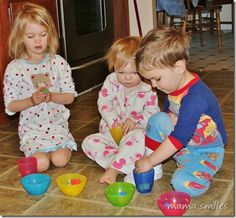 Start your toddler/preschooler's day off cheerfully with a simple learning task they can complete on their own.