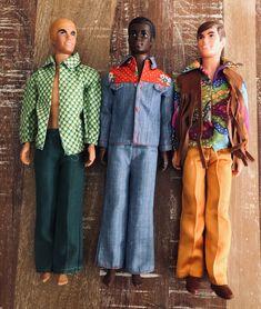 1971 Malibu Ken #1088, 1970 Brad #1542, 1971 Live Action Ken #1155 (l to r)