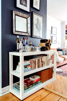 Geraldine Campbell talks all the pros of hiring a Homepolish designer to revamp her studio apartment. Small Living, Living Spaces, Living Room, Book Storage Small Space, Bookshelf Bar, Board Game Storage, Board Game Shelf, Board Games, Brooklyn Apartment