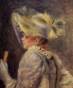 Woman in a White Hat  Pierre Auguste Renoir