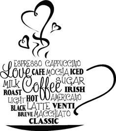 """""""Coffee Cup Collage"""" vinyl wall decal Kitchen home decor sticker for coffee lovers"""