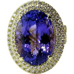 A Breathtakingly Striking ESTATE HANDMADE 18k Yellow Gold Ring with Beautiful Deep Oval cut TANZANITE in DARK BLUEISH VIOLET color, FLAWLESS (clear,