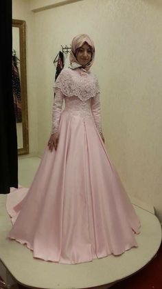 Muslin Formal Occasion Dress (veil Is Not Included) Modest Fashion Hijab, Muslim Fashion, Fashion Dresses, Muslim Wedding Dresses, Muslim Dress, Dresses For Teens, Trendy Dresses, Priscilla Of Boston Wedding Dresses, Dress Pesta