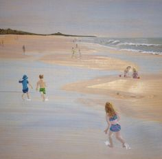 Kids playing on the beach in the Tidal pools. Original painting on wood by fine artist and illustrator, Donna Rollins