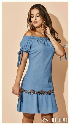 You can wear casual clothes, blue denim dresses, summer clothes. Straight and blue denim clothes with straps. Simple Dresses, Cute Dresses, Casual Dresses, Short Dresses, Fashion Dresses, Girls Dresses, Summer Dresses, Denim Dresses, Casual Clothes