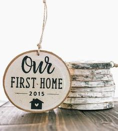 First Home Birch Wood Ornament