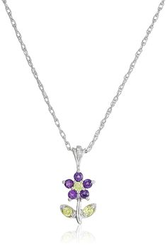 Sterling Silver Gemstone Flower Pendant Necklace * Check this awesome product by going to the link at the image.