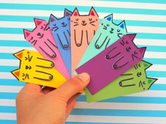 Cute Cat DIY Bookmarks From Paint Chips via @diy_candy