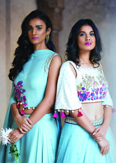 cape lehenga , cape silhouette, tassels on sleeves , aqua and white outfit , destination wedding outfit, welcome night outfit,mehendi lehenga